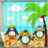 NISENASU Rideau de Douche avec 12 Crochets,Pingouins sur la Plage,Large Choix de Beaux Rideaux de Douche,de Haute qualité,imperméable 180 * 180 cm