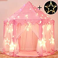 Sumbababy Princess Castle Tent with Large Star Lights Toys (Pink)