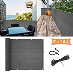 100% Balcony View Protection -- The balcony screen is made of HDPE, which can provide up to 99% visibility reduction. Besides, it has features of high visibility and reducing heavy duty. High-quality HDPE material -- 210 gsm HDPE special fabrics is s...