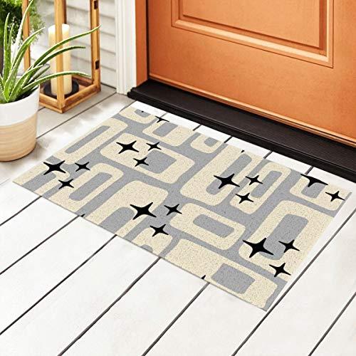Welcome Doormat with Non-Slip Waterproof Backing,Retro Mid Century Modern Abstract Pattern Gray Black Indoor Entrance PVC Rug Pad Floor Mats for Outdoor Door Kitchen Bathroom 23.6'' x15.7''