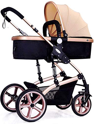 Review JINHH Four Seasons Prams, Fold High Landscape Toddlers Baby Pushchairs Bidirectional Newborn ...