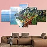 NNNLX Impresiones sobre Lienzo,Impresión Mural 5 Piezas, Costa de na Pali Kauai en Hawaii,Poster Mural,Decoración Arte De La Pared del Hogar,con Marco,Listo para Colgar