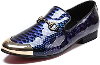 Rui Landed オックスフォード用男性フォーマルシューズスリップオンスタイル高品質パテントoxレザーヴィンテージ高級ヘビ皮テクスチャロートップメタルラウンドトゥMetaldecor (Color : 青, サイズ : 27.5 CM)