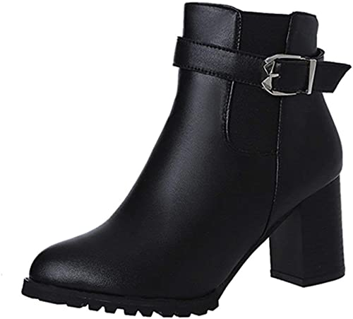ZHRUI Bottes Chaussures pour Femmes Bottes pour Femmes Boucle Femme Décontracté Cuir PU Bottes Martin Bottes élégantes à Talon compensé Bottes zippées à glissière (Couleuré   Noir, Taille   38 EU)