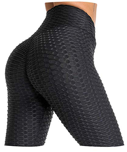 AIMILIA Butt Lifting Anti Cellulite Leggings for Women High Waisted Yoga Pants Workout Tummy Control Sport Tights Black