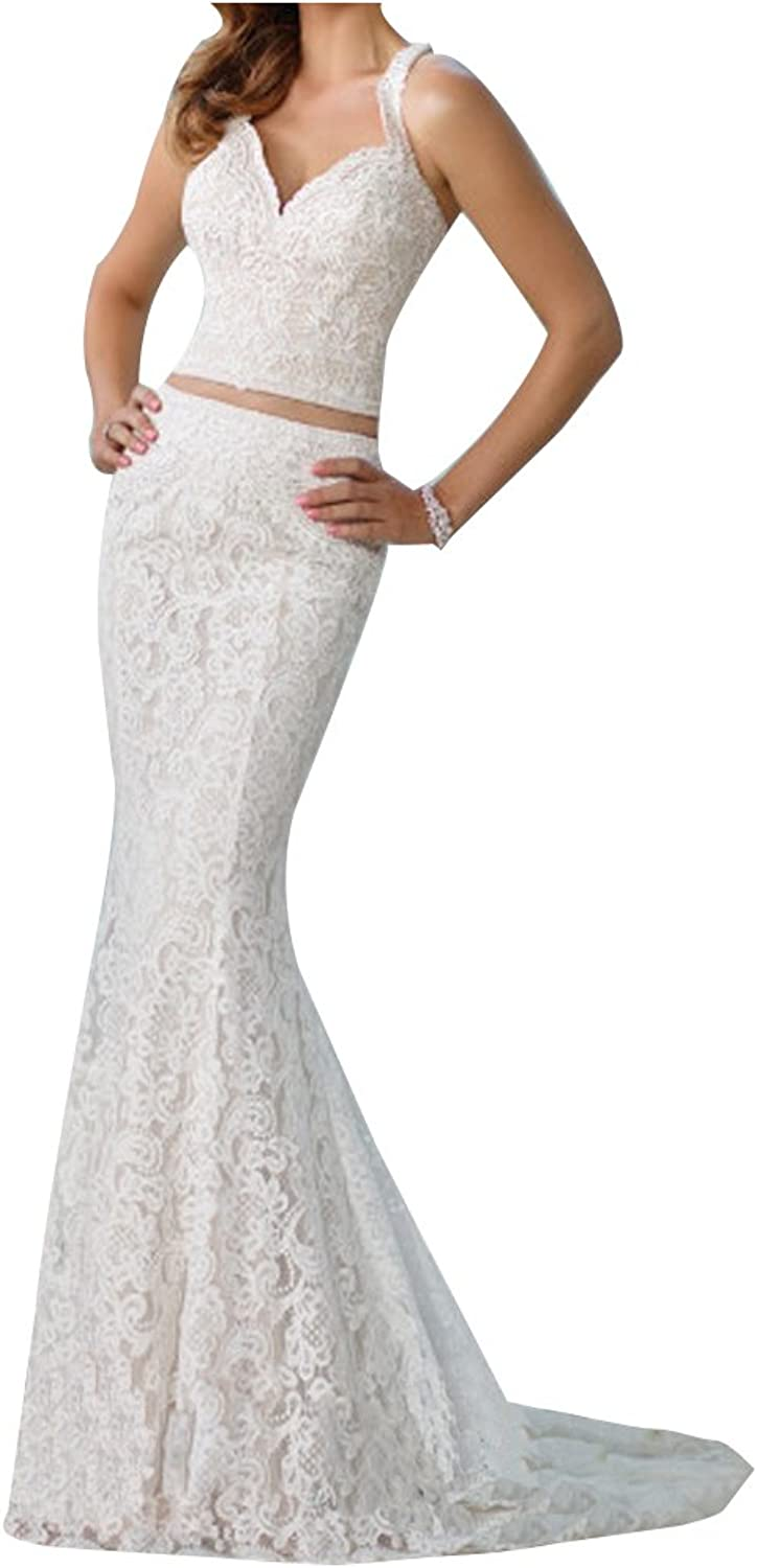 LISA.MOON Women's Sweetheart Lace Applique Full Length Two Pieces Wedding Dress