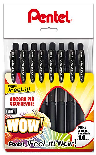 Pentel BX440 Feel-it! Wow! Sfera a scatto 1,0 mm 8 pz nero