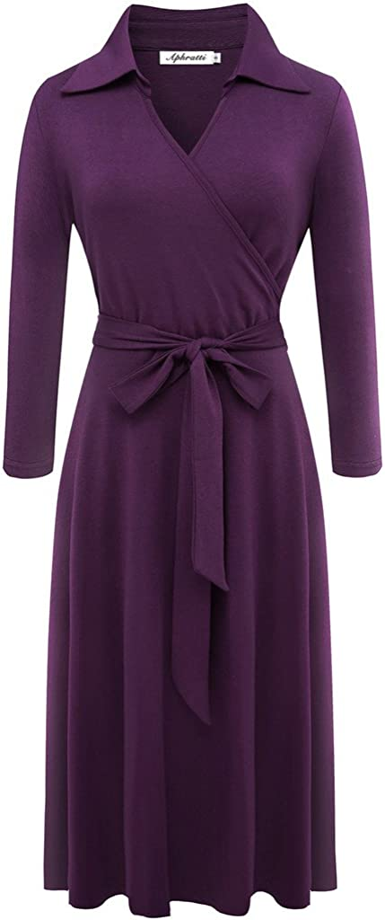Aphratti Women's 3/4 Sleeve Lapel Collar V Neck Faux Wrap Fit Flare Casual Dress