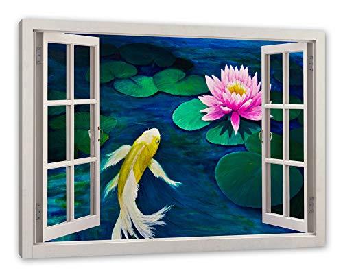 Pixxprint Koi met Seerose kunst, raam canvasfoto | muurschildering | kunstdruk hedendaags 100x70 cm