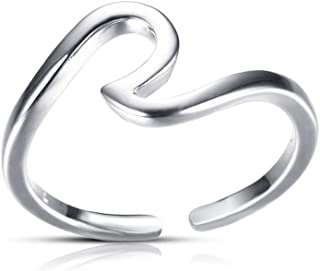 CSIYAN Opening Adjustable Ocean Wave Rings,Surfer Rings Set for Women Girls Ocean Lovers All