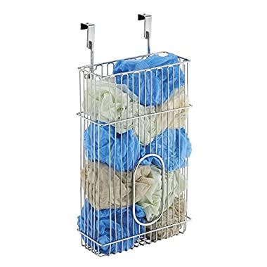 mDesign Over-the-Cabinet Plastic Bag Storage and Grocery Bag Holder, Kitchen Storage – Chrome