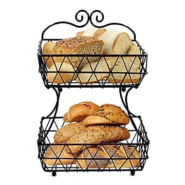 ESYLIFE 2 Tier Removable Metal Fruit Basket Stand Wire Bread Fruit Storage Rack, Black