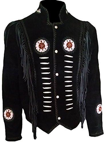 Classyak Hombres de Western Cowboy Flecos y Deshuesada Ante Piel Chaqueta