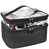 MKPCW Makeup Bags Double layer Travel Cosmetic Cases Make up Organizer Toiletry Bags (Black)