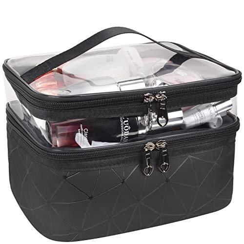 MKPCW Kulturbeutel Doppelschichtige Kosmetiktasche transparent Große Reise-Make-up-Tasche Organizer Waschtasche für Männer & Frauen, Waschbeutel in Premium-Qualität