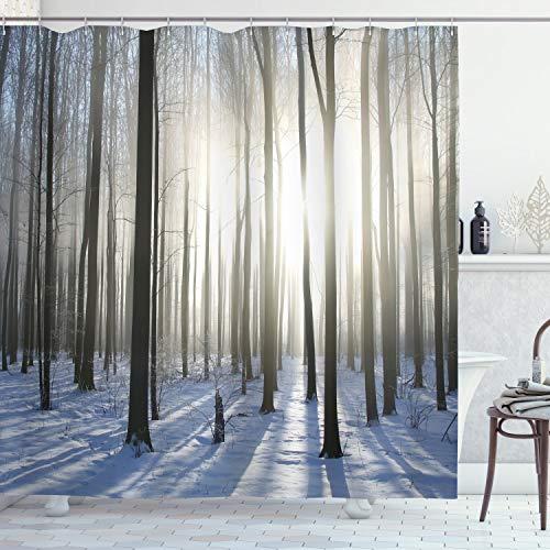 ABAKUHAUS Duschvorhang, Wald Landschaft Schwarzwild im Winter in der Natur Berge Weißer Boden Digital Foto Design Druck, Wasser & Blickdicht aus Stoff mit 12 Ringen Schimmel Resistent, 175 X 200 cm