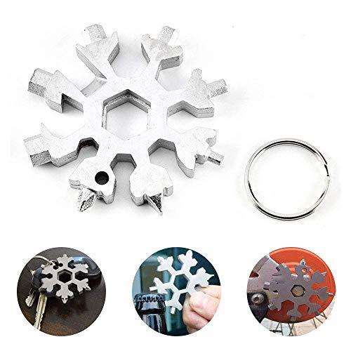 SROVFIDY 18-in-1-Multifunktionswerkzeug aus Edelstahl, tragbares Mini-Schneeflocke-Multifunktionswerkzeug, Schraubendreher Flaschenöffner Schlüsselanhänger Anti-Lost Incredible Tool