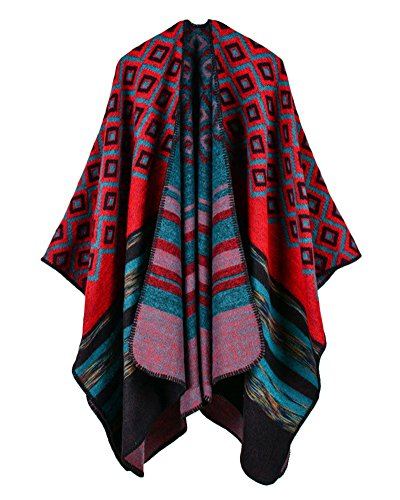 Qitun Women Winter Warm Cape With Color Stripe Pattern Oversized Shawl Poncho Rot