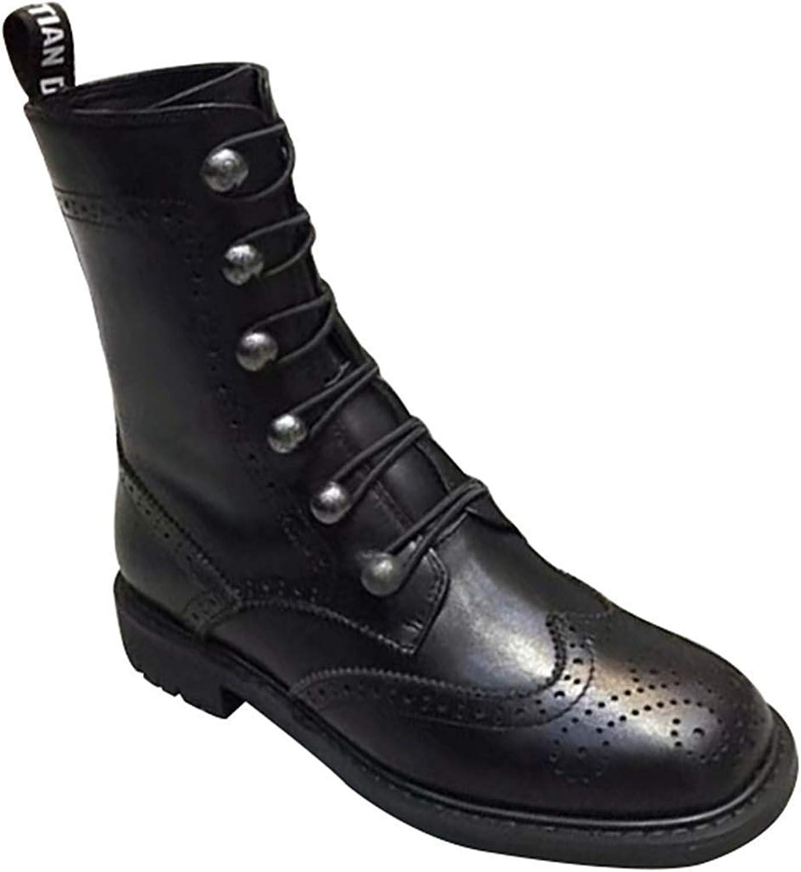 Qiusa Woherren Military Ankle Schnürschuh Schnalle Schnalle Combat Stiefel Leder Fashion Stiefel (Farbe   Schwarz, Größe   35EU)  Qualität garantiert