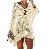 Tacobear Mujer Pareos Playa Traje de Baño Verano Vestido de Playa Sexy Bikini Cover up Camisola de Playa Túnica de Punto (Beige)