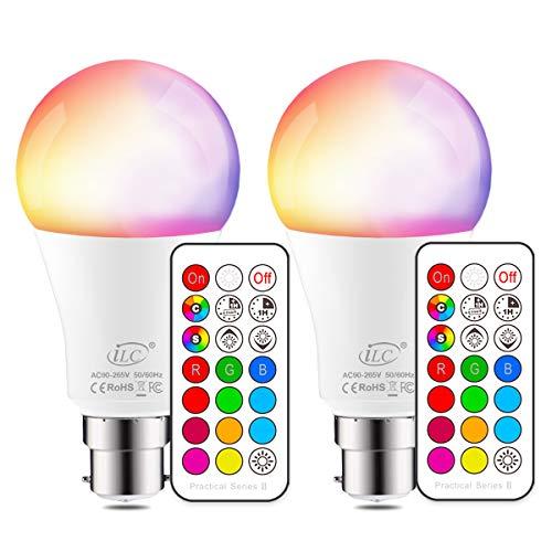 iLC Bombillas Colores RGBW LED Bombilla Regulable Cambio de Color Edison 10W B22 - RGB 12 Color - Control remoto Incluido Ambiente Ambiance Iluminación (Pack de 2)