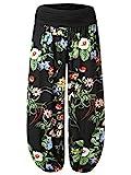 BAISHENGGT Damen Pumphose Haremshose Blumenmuster Lange Hose Schwarz-3 XL