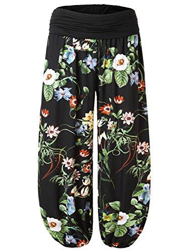 BAISHENGGT Women's Print Elastic Waist Harem Pants One Size Black-Floral #3
