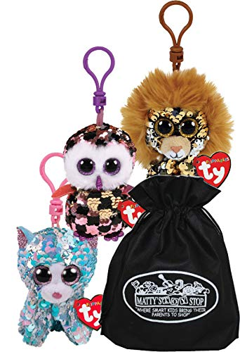 "TY Beanie Boos Flippables Clips (3"") Regal (Lion), Checks (Owl) & Whimsy (Cat) Gift Set Bundle with Matty's Toy Stop Storage Bag - 3 Pack"