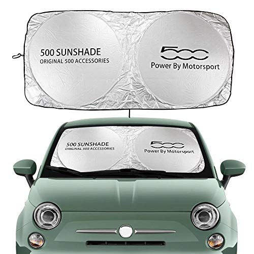 Parasol Coche Windshield Sun Shade Cubierta Compatible con Fiat 500 Abarth Trim 1.4L Turbo X Sport Auto Accesorios Auto Bloques UV Rays Sun Visor Protector Cortina de Malla para Coche