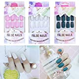 24 Pcs x 3 Colors Matte Press on Nails Short - Ballerina Coffin Nail Art Sets, Acrylic Nail Kit, Medium Length False...