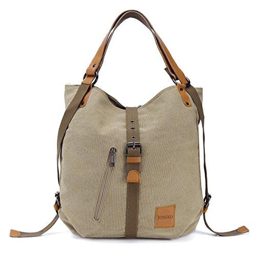 JOSEKO Canvas Tasche, Damen Rucksack Handtasche Vintage Umhängentasche Anti Diebstahl Hobotasche für Alltag Büro Schule Ausflug Einkauf Khaki (Farbe/Design kann variieren)
