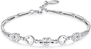 CFDWR Flower Shape Anklet Lucky Charm Anklet Link Ankle Bracelet for Women Sterling Silver