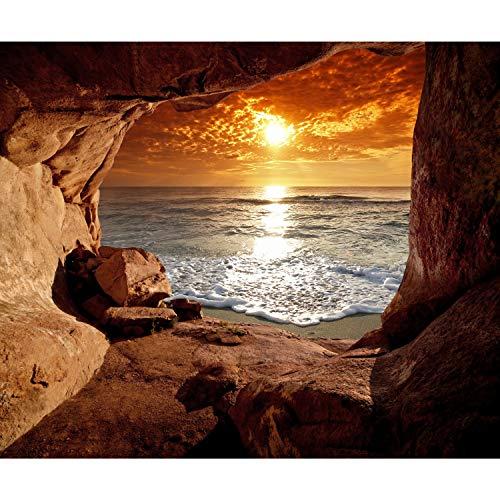 decomonkey Fototapete selbstklebend Meer Strand 294x210 cm |Selbstklebende Tapeten Wand Fototapeten Tapete Wandtapete klebend Klebefolie Sonnenuntergang Landschaft