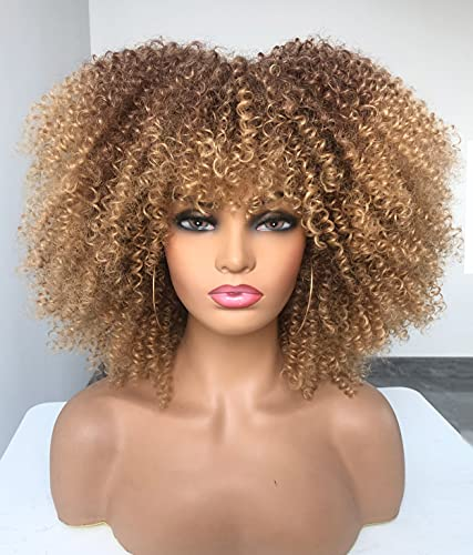 ANNIVIA Ombre Blonde Afro Short Kinky Curly Wig with Bangs for Black Women Curly Wig #33/27