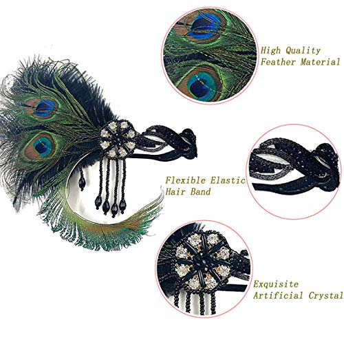 1920s Flapper Headbands Vintage Feather Headpiece Great Gatsby Peacock Headband Women Flapper Costume Accessories for 20s Theme Party