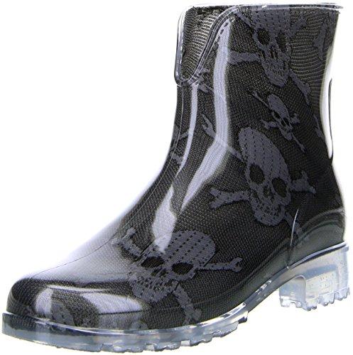 G&G Damen Stiefeletten Gummistiefel Regenschuhe Totenkopf Pirat schwarz/anthrazit, Größe:36, Farbe:Schwarz