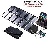ZSPSHOP Cargador Solar Plegable 18V 80W Dual 5V USB + 18V DC Salida Panel Solar Cargador Portátil Al Aire Libre para 12V Batería De Automóvil Computadora Portátil Tableta Camping