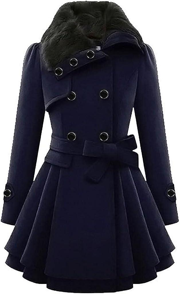 Women's Wool Lapel Trench Parka Coat Winter Warm Windbreaker Outwear Long Button Cloak Coat Jacket Overcoat Windbreaker
