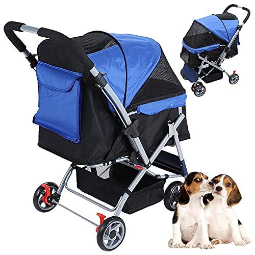 PETHOUSE klappbarer Kinderwagen für Hunde/Katzen, Katzenwagen mit 4 Rädern mit Zweiwegegriff & Ablagekorb, große Tragkraft 25kg (55lbs), Welpenwagen für jedes Gelände, blau