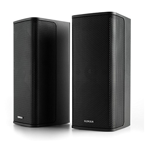 NUMAN Ambience 2.0 Stereo-System - Lautsprecher-System, Heimkino-System, Satellitenlautsprecher, 2 x 60 Watt RMS, 120 Watt max, integriertes Wandmontagesystem, inkl. 12 m Kabel, schwarz