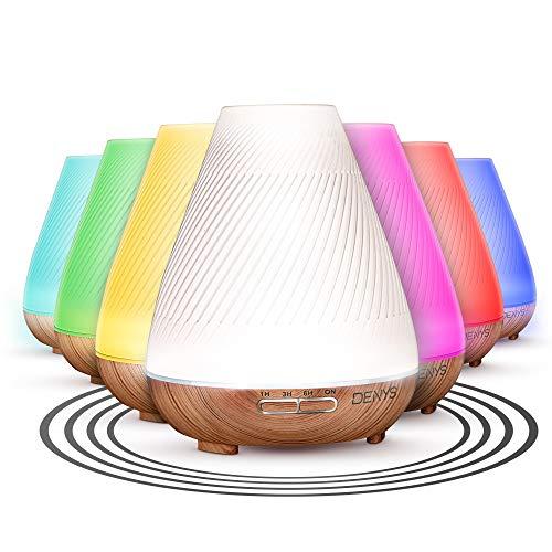 DENYS – Luftbefeuchter mit Duftöl [300 ml] – Aroma Diffusor und Lufterfrischer Schlafzimmer – Duftlampe elektrisch – LED Beleuchtung mit [7 Farben] – Inklusive Aromaöl – Automatische Abschaltung