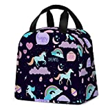 Unicorn Lunch Bag for Girls, Reusable Cute Unicorn Lunch Box Insulated Lunch Tote Bag with Front Pocket for School Kids Teen Girls (Dark Purple)