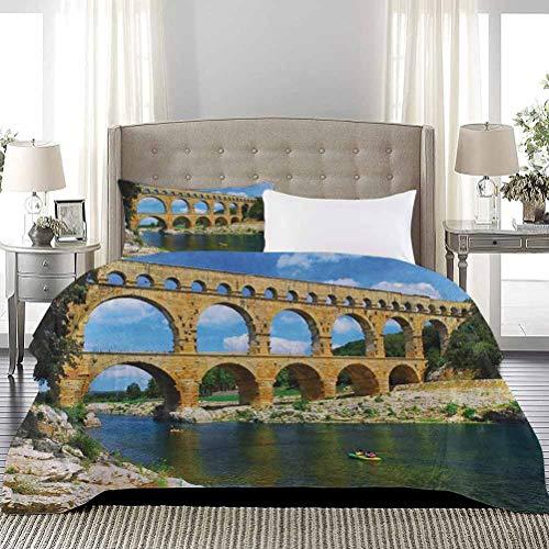 UNOSEKS LANZON - Funda de ropa de cama para cama de la antigua Patrimonio Romano del Sur de Francia Arquitectónica Histórico Suave Ligero y Cómodo Azul Verde Bronceado, Tamaño completo