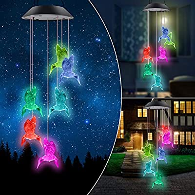 ERYTLLY Solar String Lights, Color Changing LED Mobile Hummingbird Wind Chimes, Waterproof Outdoor Solar Lights for Home Yard Patio Garden (Birds Chimes)