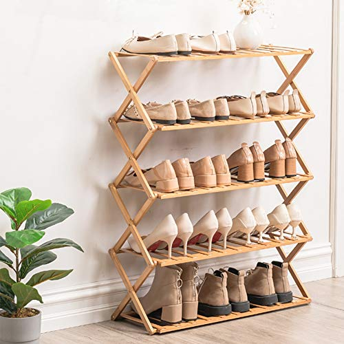 Haioo Estante Plegable de Zapatos, Múltiples Niveles Zapatero Organizador Estantería Compacto de Bambú sin Instalación para Hogar, Jardín y Patio (Madera Clara, 100 cm)