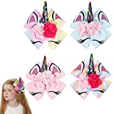 Oaoleer 4pcs 8 inch Unicorn Large Hair Bows with Alligator Clip Gift for Girls Toddles
