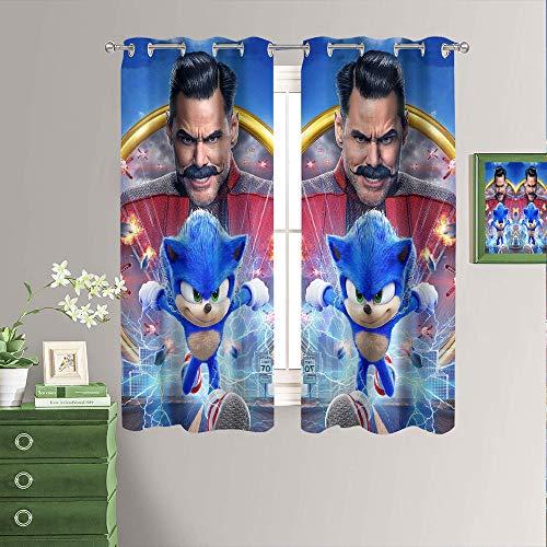 Sonic The Hedgehog - Cortinas opacas para ventana de habitación, cortinas opacas para oscurecer la habitación, con ojales en la parte superior de 63 x 72 pulgadas
