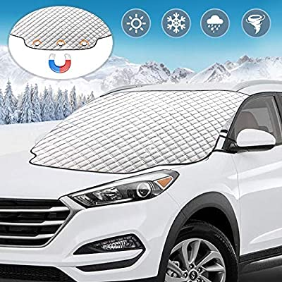 Car Windshield Snow Cover, UBEGOOD Windshield Ice Snow Cover with Magnetic Edges, Thicker 4 Layers Windshield Frost Defense Protection, Extra Large Fits for Most Cars, SUVs and Trucks