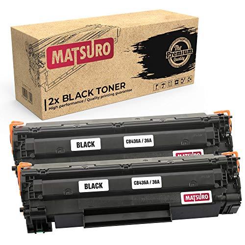 Matsuro Original | Compatible Cartucho de Toner Reemplazo para HP CB436A 36A (2 Negro)