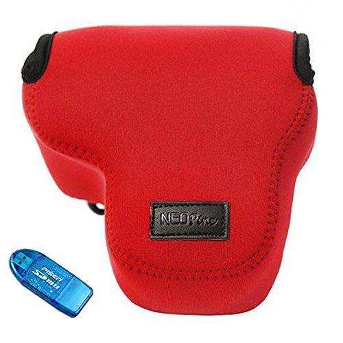 First2savvv QSL-RX10II-08G10 rot Flexible Neopren DSLR / SLR Kameratasche für Sony Cyber-SHOT DSC-RX10 II . RX10M2 + SD-Kartenleser